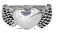 Ladies Wing and Heart Stainless Steel Ring Sizes 5-10  FREE SHIPPING - Product Image