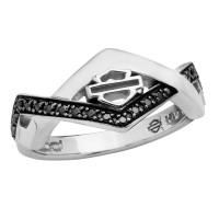 Ladies Harley-Davidson ® Black Ice Art Deco Sterling Silver RingHDR0448 - Product Image