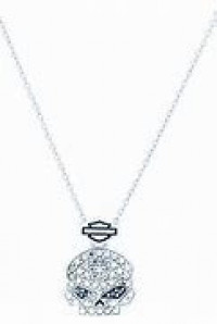Ladies Harley Davidson ® Marcasite Skull Necklace Pendant by Mod JewelryHDN0350 - Product Image