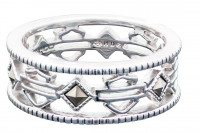 Ladies Harley-Davidson ® Motorcycle Biker Sterling Silver Outline Wedding Band Mod Jewelry®HDR0386 - Product Image