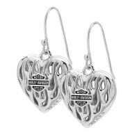 Ladies Harley-Davidson ® Sterling Silver Biker Flame Heart Earrings Mod Jewelry® HDE0423 - Product Image