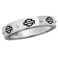 Ladies Harley-Davidson ® Motorcycle Sterling Silver Outline Wedding Band Biker Ring HDR0497 - Product Image