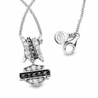 Ladies Harley-Davidson ® / Mod ® Barbwire Bling Necklace, Sterling Silver HDN0451  - Product Image
