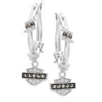 Ladies Harley-Davidson ® Barbwire Circle Hoop Earrings Mod Jewelry®HDE0533  - Product Image