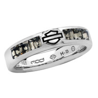 Ladies Harley-Davidson ® Black Ice Crystal Comfort Fit Wedding Band Sterling Silversizes 5-910HDR0360 - Product Image