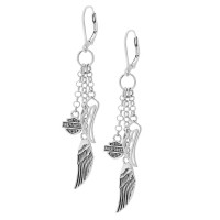 Ladies Harley-Davidson ®   Sterling Silver  Multi-Wing Dangling  Angel Wing Earrings HDE0219 - Product Image