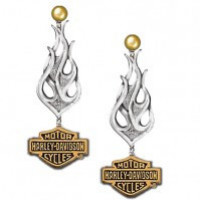Ladies Harley-Davidson ® Biker Tribal Flame Earrings Sterling Silver - Product Image