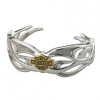 Ladies Harley-Davidson® Tribal Flame Cuff Bracelet Sterling Silver - Product Image