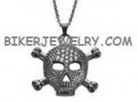 Ladies Large Pendant  Black Skull/ Crossbones Stainless Steel  BLING  FREE SHIPPING - Product Image