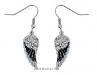 Ladies Mini Black Angel Wing Earrings with Crystals  FREE SHIPPING - Product Image