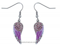 Ladies Mini Pink Angel Wing Earrings with Pink Crystals FREE SHIPPING - Product Image