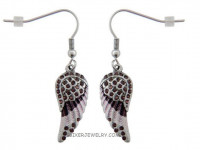 Ladies Mini Purple Angel Wing Earrings with Crystals  FREE SHIPPING - Product Image