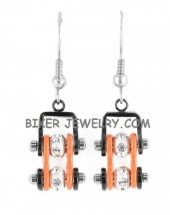Ladies Mini Stainless Steel Black and Orange Bling Motorcycle Bike Chain Earrings  FREE SHIPPING - Product Image