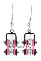 Ladies Mini Stainless Steel Black and Pink Bling Motorcycle Bike Chain Earrings  FREE SHIPPING - Product Image