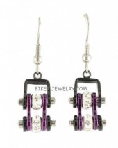 Ladies Mini Stainless Steel Black and Purple Bling Motorcycle Bike Chain Earrings  FREE SHIPPING - Product Image