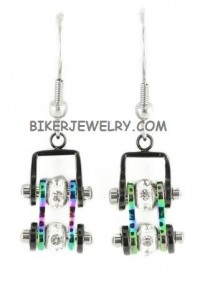Ladies Mini  Stainless Steel  Black/Fluorescence  Bling Motorcycle Bike Chain Earrings  FREE SHIPPING - Product Image