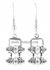 Ladies Mini  Stainless Steel  Bling Motorcycle Bike Chain Earrings  FREE SHIPPING - Product Image