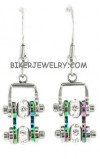 Ladies Mini  Stainless Steel  Chrome/Fluorscence  Bling Motorcycle Bike Chain Earrings  FREE SHIPPING