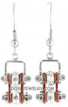 Ladies Mini  Stainless Steel  Chrome/Candy Red  Bling Motorcycle Bike Chain Earrings  FREE SHIPPING