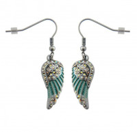 Ladies Mini Turquoise Angel Wing Earrings with Crystals  FREE SHIPPING - Product Image