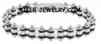 Ladies Mini  Stainless Steel  Chrome on Black  Bling Motorcycle Bracelet with Crystals  FREE SHIPPING - Product Image
