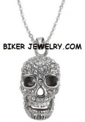 Ladies  Pendant/Chain  Bling/Skull  Stainless Steel  FREE SHIPPING - Product Image