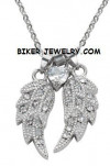 Ladies Pendant  With Chain  Angel Wings/Heart  Stainless Steel  BLING  FREE SHIPPING