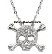 Ladies Pendant Skull / Crossbones Stainless Steel Necklace FREE SHIPPING - Product Image