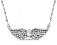 Ladies Pendant  With Chain  Angel Wings/Heart  Stainless Steel  BLING  FREE SHIPPING - Product Image