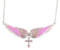 Ladies Pink Bling Angel Wing Crystal Necklace with Cross FREE SHIPPING - Product Image