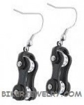 Ladies Earrings Stainless Steel Black on Black Motorcycle Chain with Clear Bling Crystals  FREE SHIPPING - Product Image