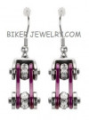 Ladies  Stainless Steel  Chrome / Purple  Motorcycle Earrings  Bling Crystals  FREE SHIPPING