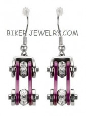 Ladies Stainless Steel Chrome & Purple Bling Crystals Motorcycle Bike Chain Earrings  FREE SHIPPING - Product Image