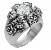 Ladies Stainless Steel Skull & Roses Ring Sizes 5-9  FREE SHIPPING - Product Image