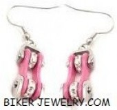 Ladies  Stainless Steel  Chrome and Pink  Motorcycle  Bike Chain  Bling Earrings  FREE SHIPPING - Product Image