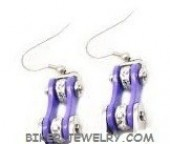 Ladies  Earrings  Stainless Steel  Silver and Violet  Motorcycle Chain  Bling / Crystals  FREE SHIPPING - Product Image