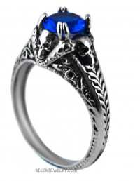 Ladies Stainless Steel Solitaire Blue Stone Motorcycle Biker Ring Sizes 5-9  FREE SHIPPING - Product Image