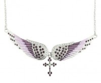 Ladies Purple Bling Angel Wing Crystal Necklace with Cross FREE SHIPPING - Product Image