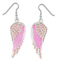 Ladies Pink Angel Wing Earrings with Bling Crystals  FREE SHIPPING - Product Image