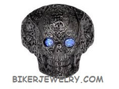 Ladies  Black Skull Ring  Blue Eyes  Sizes 6-10  FREE SHIPPING - Product Image