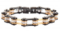 Ladies Black and Gold Bling Bracelet with Crystals Stainless Steel 4 Lengths  FREE SHIPPING - Product Image