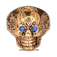 Ladies  Gold Tone Skull Ring  Blue Eyes  Sizes 6-10  FREE SHIPPING - Product Image