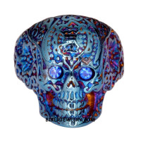 Ladies  Blue Skull Ring  Blue Eyes  Sizes 6-10  FREE SHIPPING - Product Image