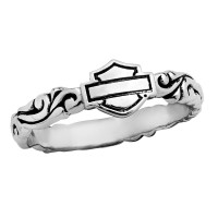 Ladies Harley-Davidson ® Motorcycle Sterling Silver Lace Scroll Biker Ring Mod Jewelry® Available in Sizes 5-10HDR0315 - Product Image