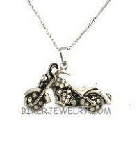 Ladies  Motorcycle Bling Pendant Stainless Steel  FREE SHIPPING - Product Image
