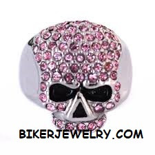 Ladies  Pink Bling Skull  Motorcycle Biker Ring Stainless Steel  Sizes 6-10  FREE SHIPPING - Product Image