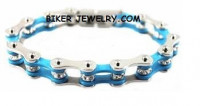 Ladies  Stainless Steel  Silver and Turquoise  Bling Motorcycle Bracelet with Crystals  4 Lengths  FREE SHIPPING - Product Image
