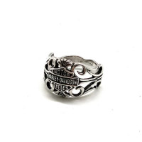 Ladies Sterling Silver Harley-Davidson ® Bar & Shield Filigree Ring Mod Jewelry®  Available in Sizes 5-9HDR0289 - Product Image