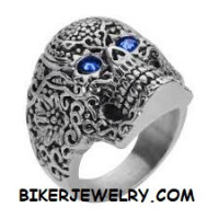 Ladies  Tattoo Skull Motorcycle Biker Ring  Blue Eyes  Sizes 6-10  FREE SHIPPING - Product Image