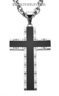 Large Black Inlaid Religious Cross  Stainless Steel  5mm Byzantine Chain 3 Lengths  FREE SHIPPING - Product Image